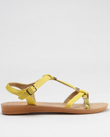 Beauty Girl Strappy Flat Sandals Yellow