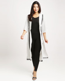Crave Extra Long Cardi With Crochet Detail White