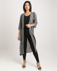 Crave Extra Long Cardi With Crochet Detail Black