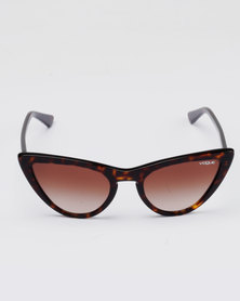 Vogue Brown Frame Cateye Sunglasses With Gradient Lens Brown