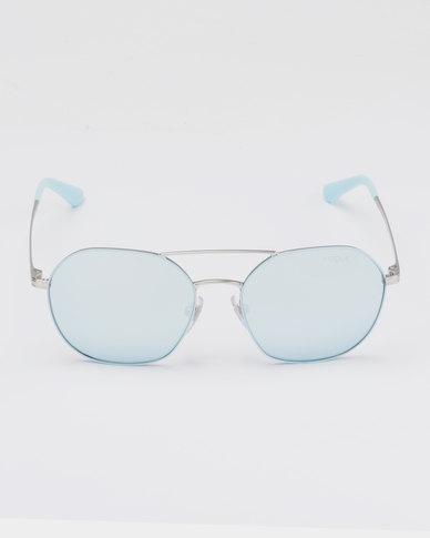 Vogue Matte Azure/Silver Frame Mirror Lens Sunglasses Blue/White