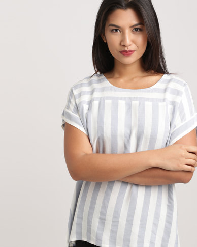 Bukamina Stripe Top Blue