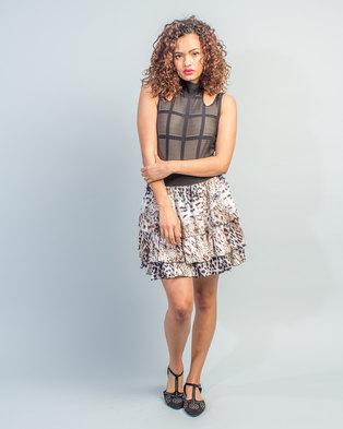 a945f6c9989 HASHTAG SELFIE Animal Print Skirt Leopard