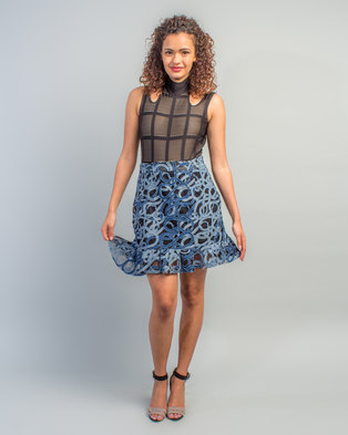 ac561efad0b HASHTAG SELFIE Frill Skirt Denim Blue
