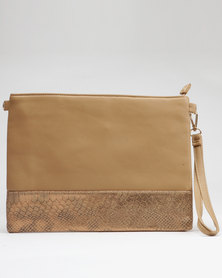 Utopia Two Tone Clutch Taupe