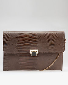 Utopia Croco Clutch Choc