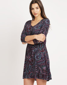 Tasha's Closet Floral Print Dress Purple