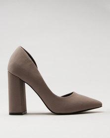 Call It Spring Gricode Ladies Flared Heel Half d'Orsay Pump Grey
