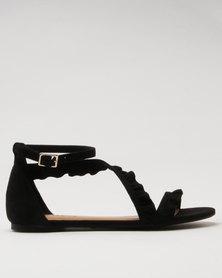 Call It Spring Criania Ladies Frill Asymmetric Flat Sandal Black