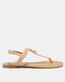Call It Spring Brolo Ladies T-Bar With Clasp Ornament Nude