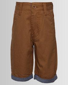 Soviet Crew Twill Shorts Tobacco