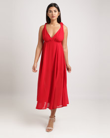 Goldie Flare Maxi Dress with Shoulder Ties Rustic Red