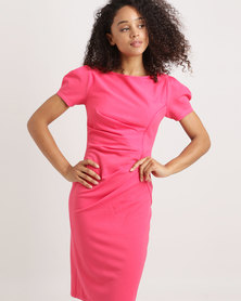 City Goddess London Boat Neck Ruched Midi Dress Coral