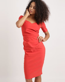 City Goddess London Sweetheart Neckline Dress Red/Orange