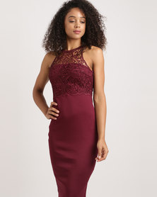 AX Paris High Neck Lace Midi Dress Burgandy