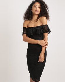 AX Paris Lace Bardot Midi Dress Black