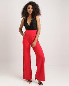 London Hub Fashion High Waist Trousers Red