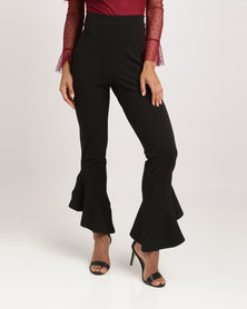 London Hub Fashion Flared High Waisted Trouser Black