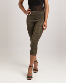 London Hub Fashion Metallic Effect Leggings Gold