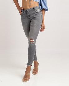 London Hub Fashion Distressed Frayed Hem Jeans Grey