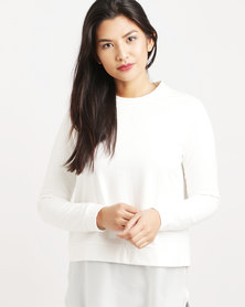 Paige Smith Sweater With Satin Frill Creme