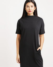 Paige Smith Highneck Sweater Dress Black