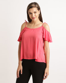 Hip Shop Butterfly Kisses Top Coral