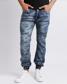 Alpha Industries Bravo Camo Joggers Blue