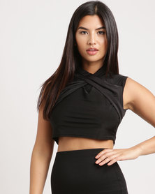 Brett Robson Tumi Ruched Wrap-Over Crop Top Black