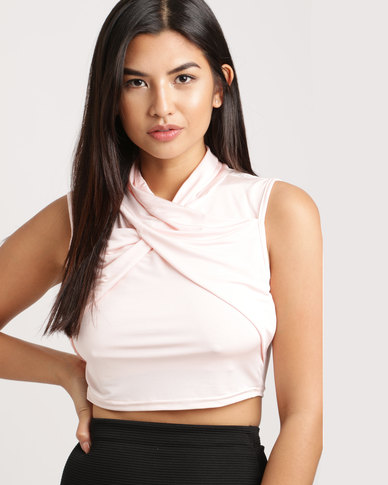 2325407deed96 Brett Robson Tumi Ruched Wrap-Over Crop Top Pink
