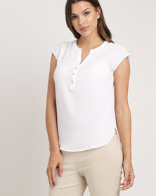 Queenspark Plain Easy To Wear Woven Shirt White
