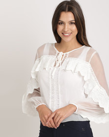 Cath Nic By Queenspark Organza Fancy Woven Top White