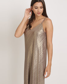 Cath Nic By Queenspark Eyelet Detail Shimmer Knit Dress Bronze