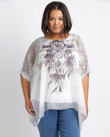 Queenspark Plus Dream Catcher Woven Blouse White