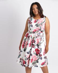 Queenspark Plus Rose Drew Printed Woven Dress Multi