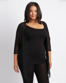 Queenspark Plus New Mesh Knit Bolero Jacket Black