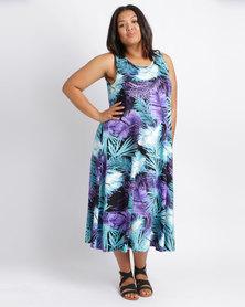Queenspark Plus Umbrella Printed Knit Dress Aqua
