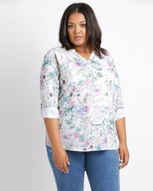 Queenspark Plus Flower Printed Woven Crepe Shirt White