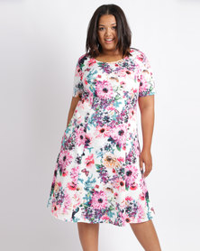 Queenspark Plus Peonie And Butterfly Printed Knit Dress Multi
