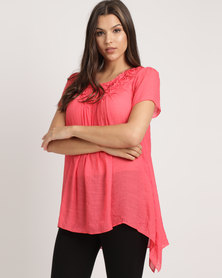 Miss Cassidy By Queenspark Rose 3D Woven Top Coral