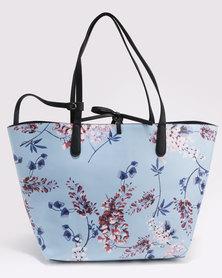 Queenspark Printed Blossom Bag Blue