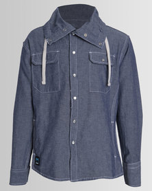 Ripstop Boys Funnel Neck Shirt Blue
