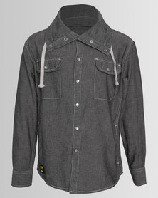Ripstop Boys Funnel Neck Shirt Grey