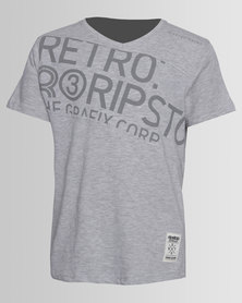 Ripstop Boys V-Neck Slub Tee Grey
