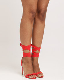Public Desire Boulevard Bow Detail Wrap Around Barely There Faux Suede Red