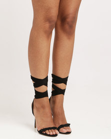 Public Desire Boulevard Bow Detail Wrap Around Barely There Faux Suede Black