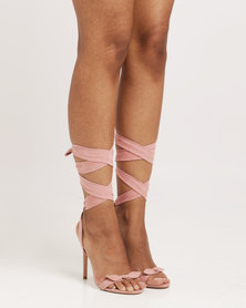 Public Desire Boulevard Bow Detil Wrap Around Barely There Faux Suede Pink