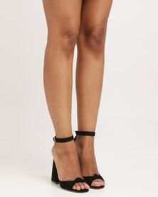 Public Desire Embrace Knotted Flared Heel Faux Suede Black