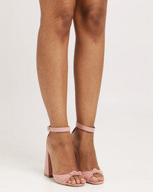 Public Desire Embrace Knotted Flared Heel Faux Suede Blush Pink
