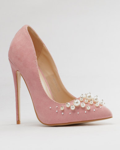 adbe080e2664 Public Desire Mayfair Pearl Detail Court Faux Suede Blush Pink